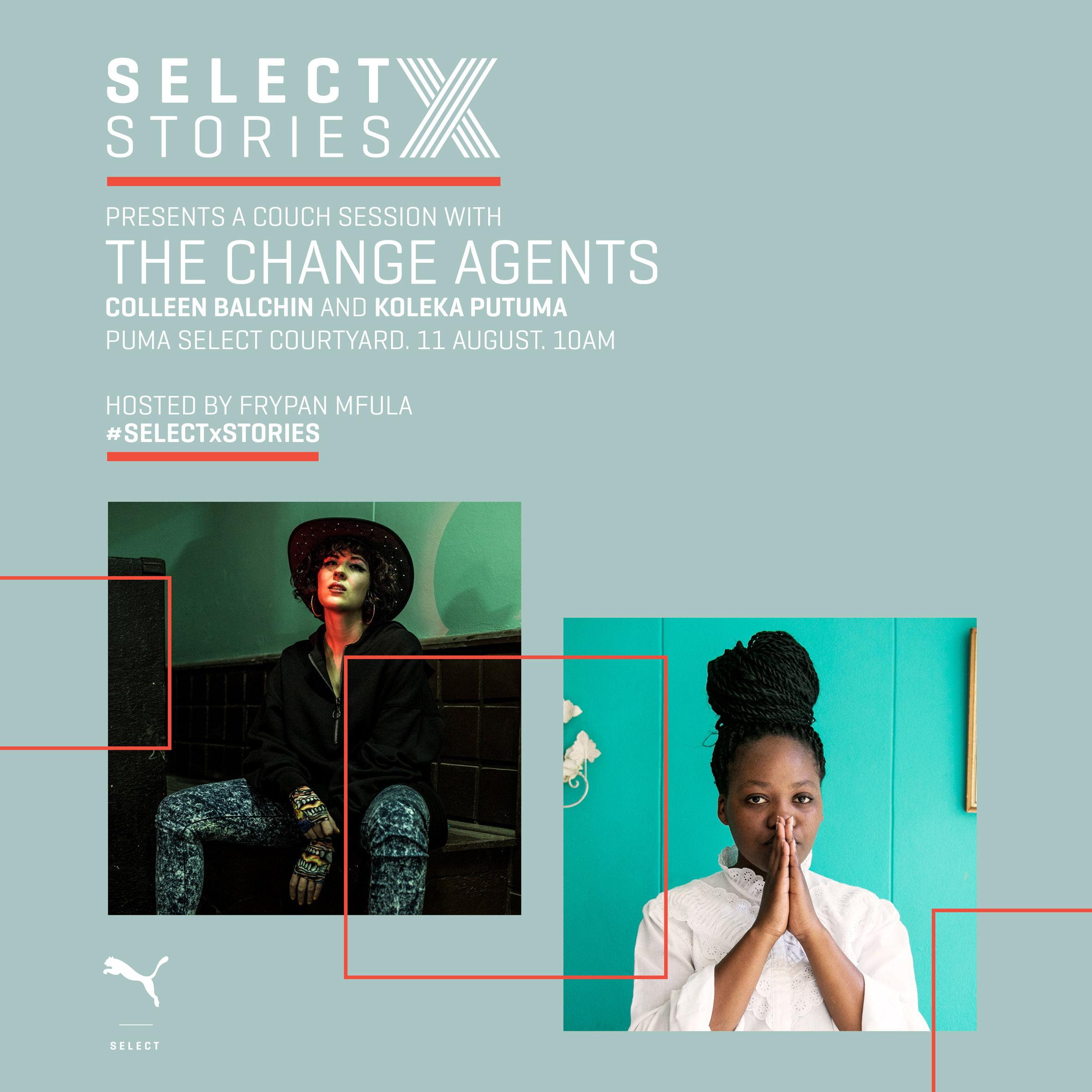 """Change Agents"" Colleen Balchin & Koleka Putuma for latest PUMA SELECT x STORIES on 11th August"