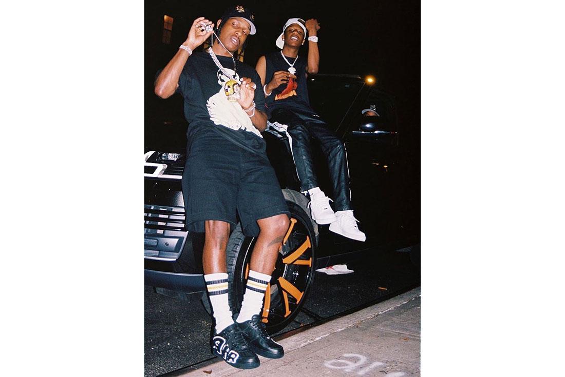 A$AP Rocky Flexes Cactus Plant Flea Market x Nike Air Force 1 Low in Black/White