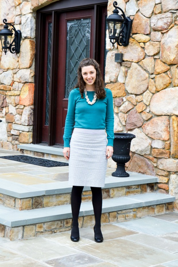 Wearing sweaters with pencil skirts \\ Outfit ideas from Hunting for Pink Flamingos