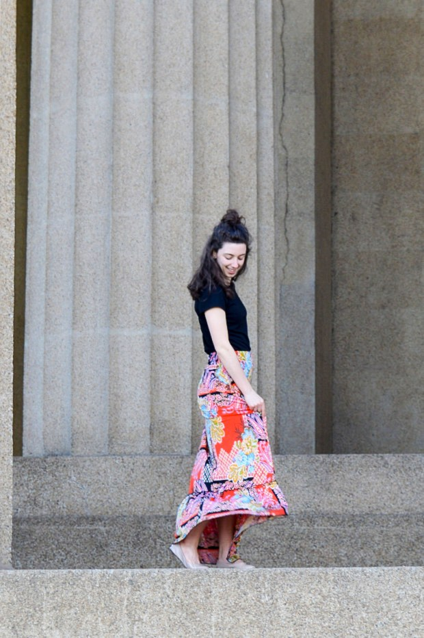 Simple black top + colorful patterned skirt