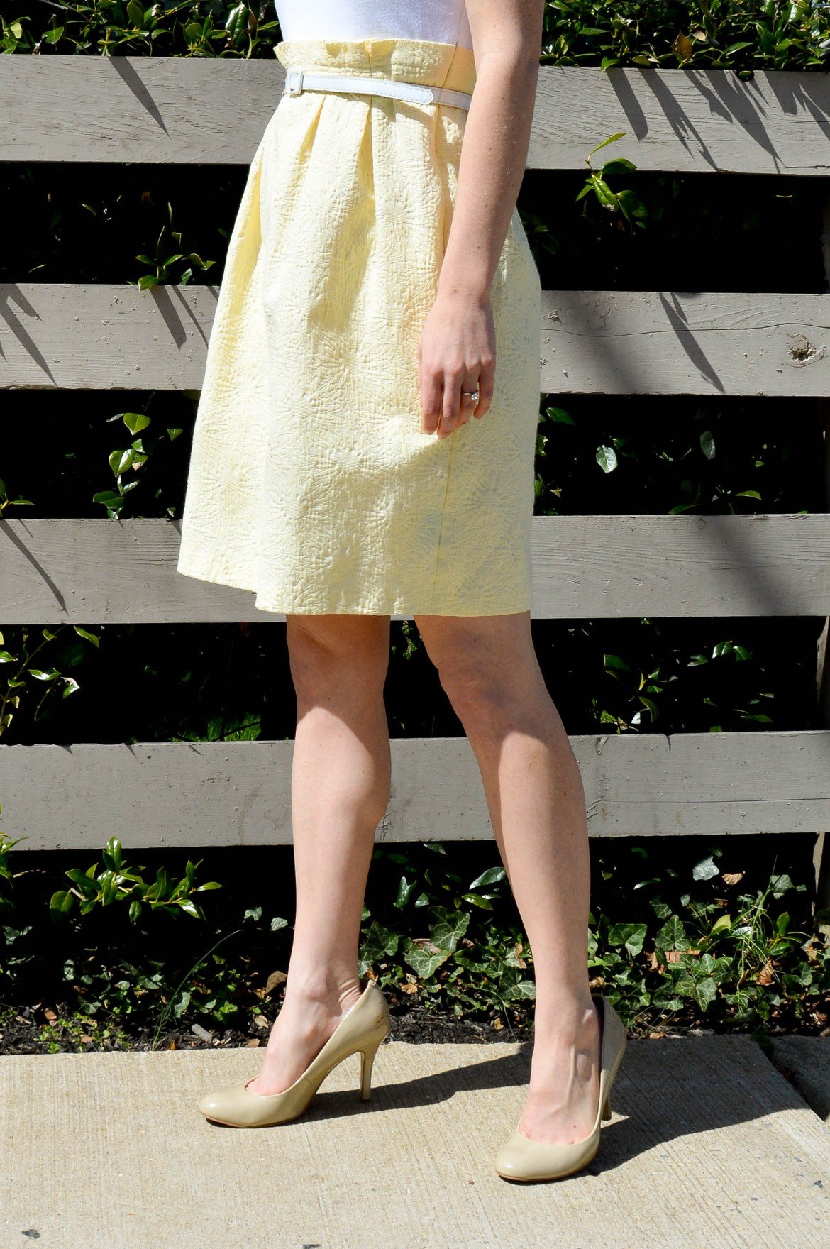 Pale yellow patterned skirt   And understated way to wear a statement piece