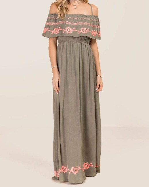 What to wear this spring   Embroidered maxi dress