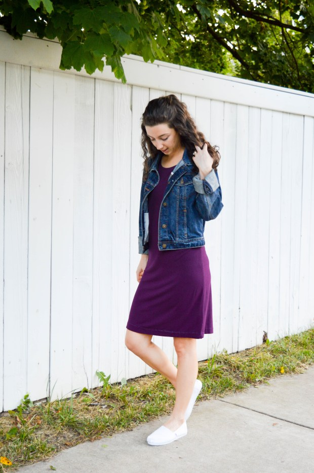 Knit dress + jean jacket + white sneakers | Casual, versatile weekend outfitF