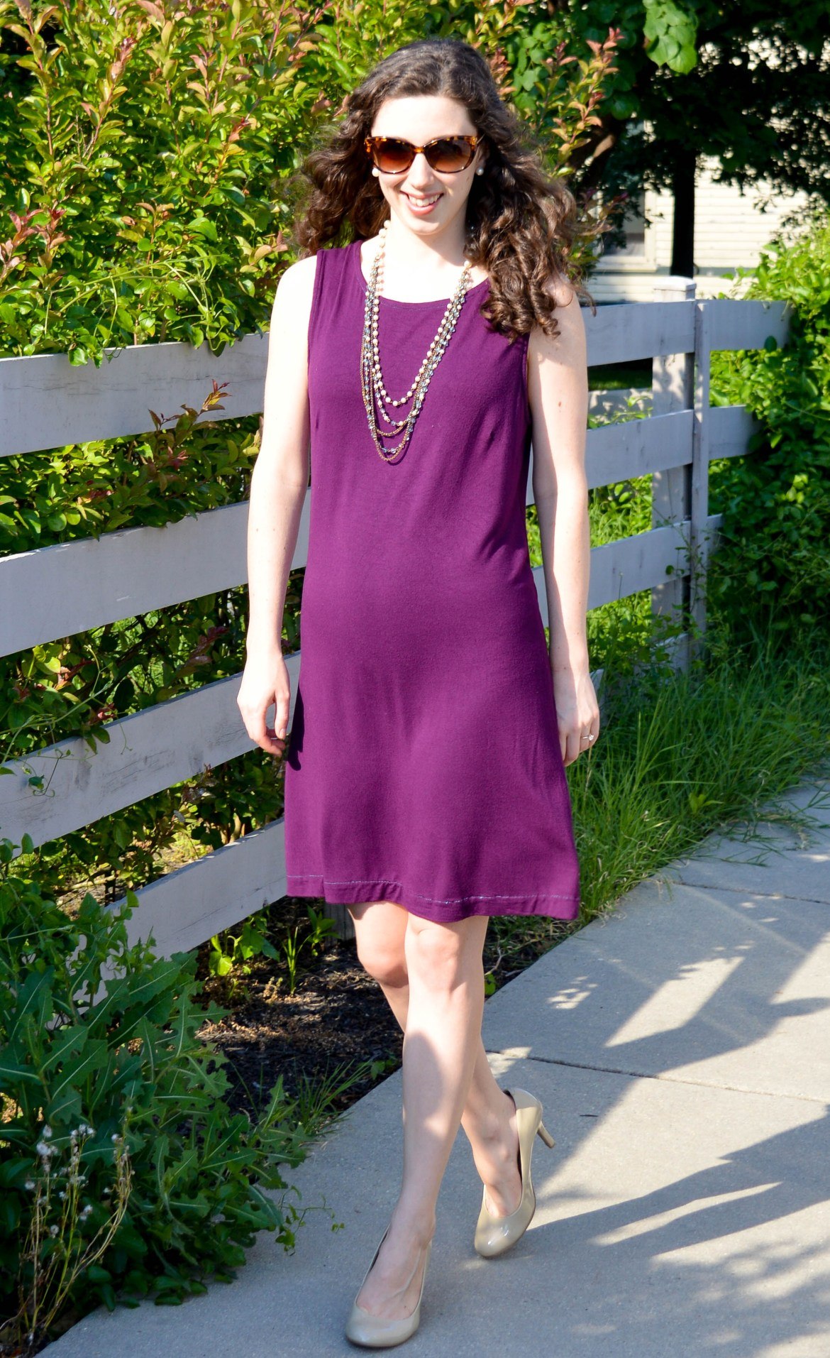 Purple Knit Dress + Nude Heels + Long Pearl Necklace | Comfortable, easy summer work outfit