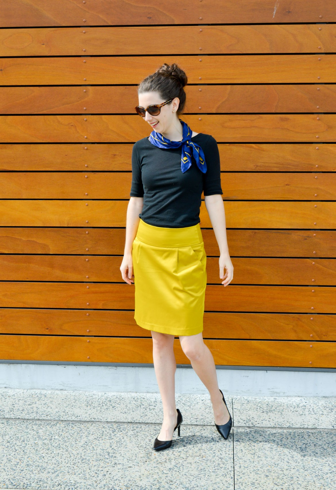 Embracing flight attendant attire | A cute look with a silk scarf