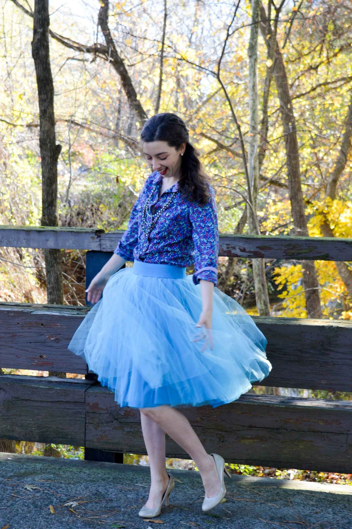Floral button down + tulle skirt