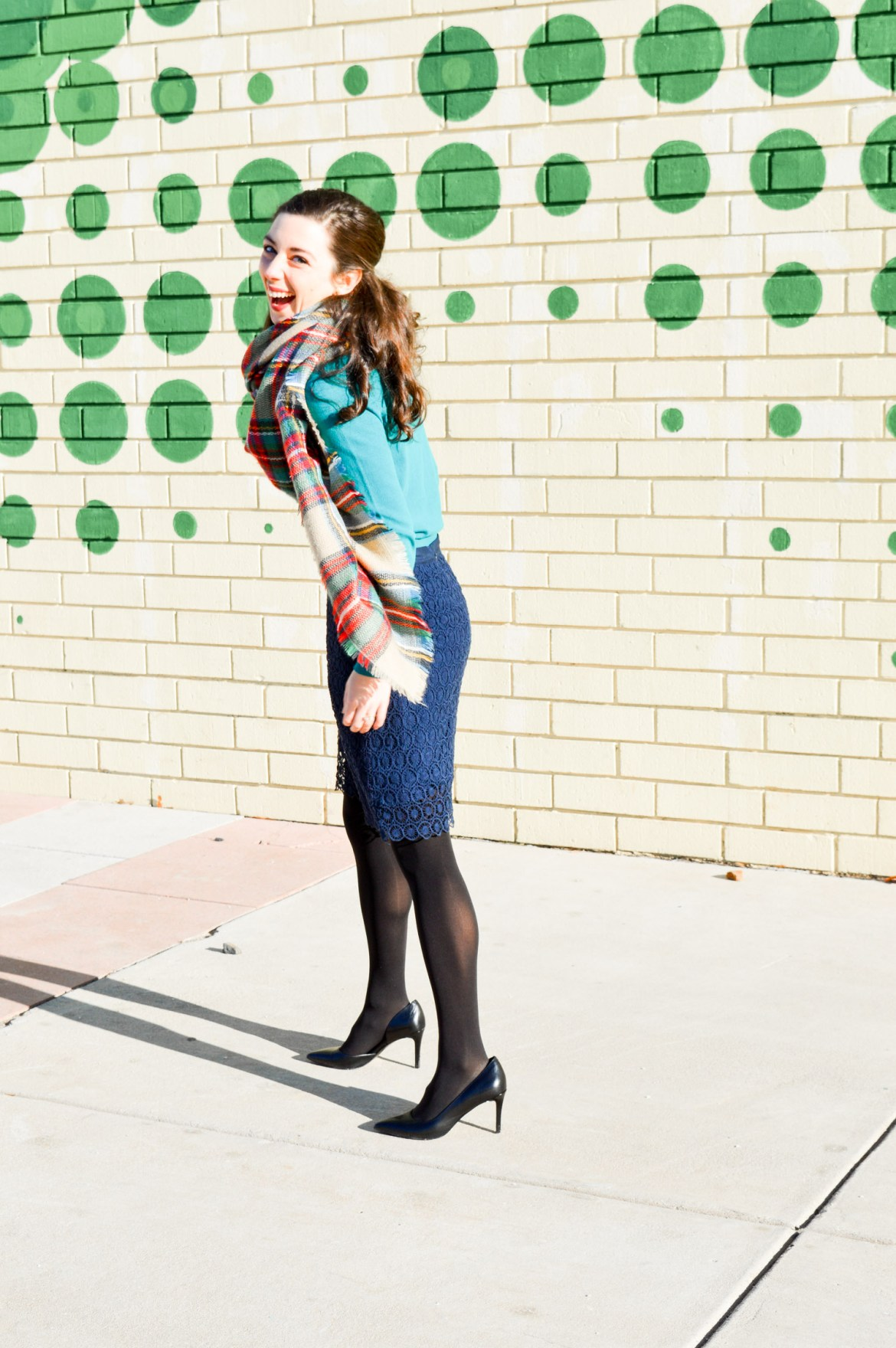 Winter Layering // Blanket Scarf + Fitted Sweater + Pencil Skirt