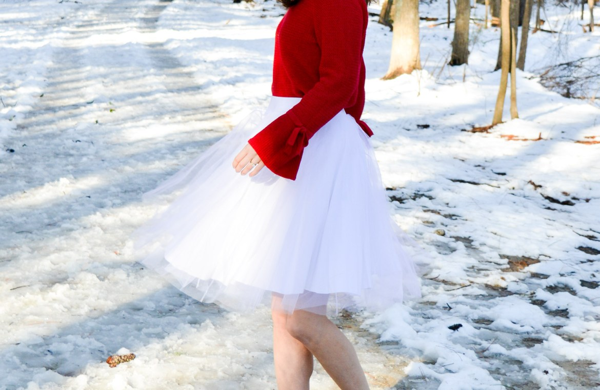 Red Sweater with bell sleeves and bows
