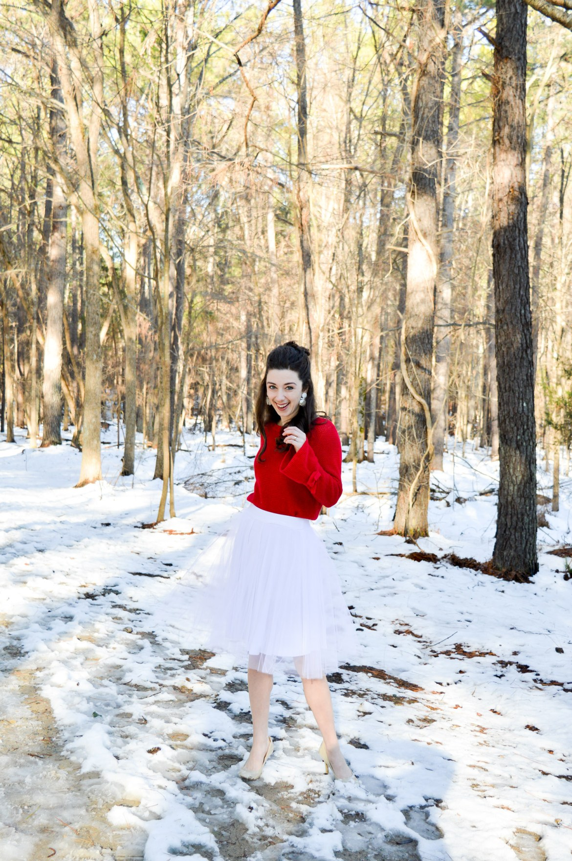 Styling your tulle skirt for the winter // Pair it with a sweater