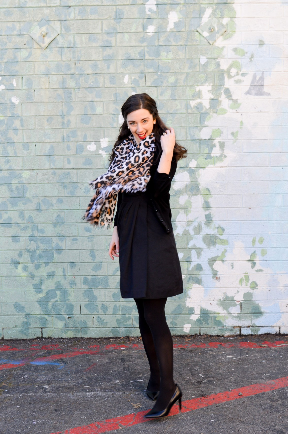 3 Ways to Style a Little Black Dress // Cardigan + Leopard Print Scarf + Tights & Heels
