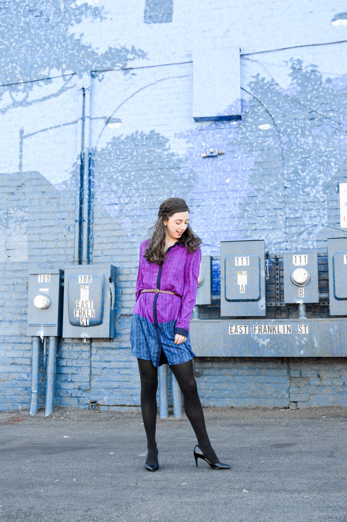 Purple and blue colorblocking // The shirtdress you can wear just about anywhere!