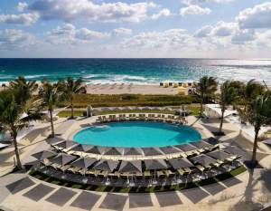 Outdoor Pool at the Boca Beach Club, part of the Boca Raton Resort & Club, A Waldorf Astoria Resort. A perfect place to have a romantic getaway in Florida.