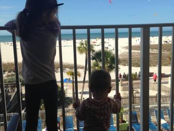 Watching kites from our balcony at the Bilmar Beach Resrt in Treasure Island, Florida.