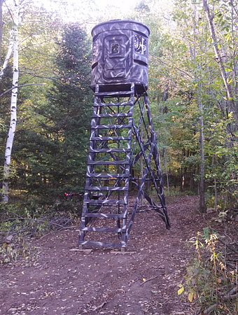 Hunting Blind, Tower Stand, Camo, Adjutable Heights, Killer Views, Bow Hunting Views, Pullback Space, Target, Clover Food Plots
