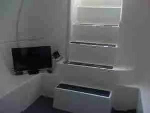 underground storm shelter, with tv