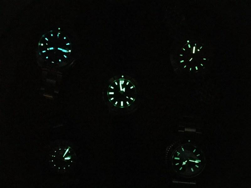 Illuminated watch faces from Seiko, Tag Heuer, Doxa and Zodiac