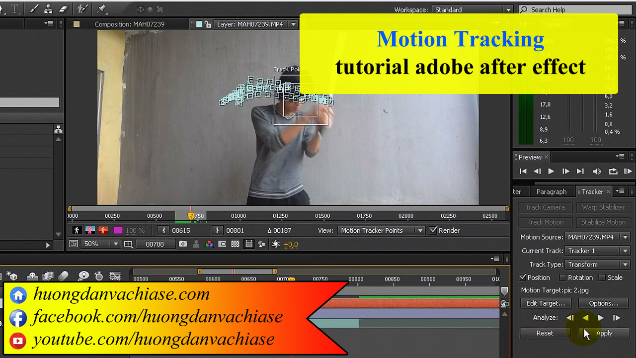 Motion Tracking trong adobe after effect