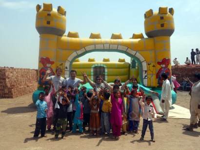 Bouncy castle in the brick kiln near Lahore, Pakistan