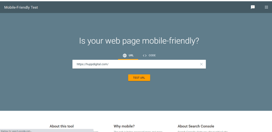 mobile friendly test page