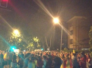 Crowding in the streets to continue the party!