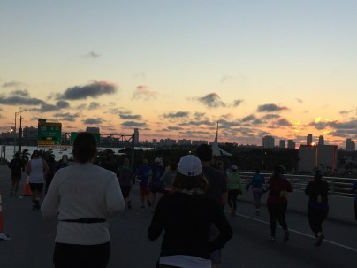Runners on the MacArthur Causeway
