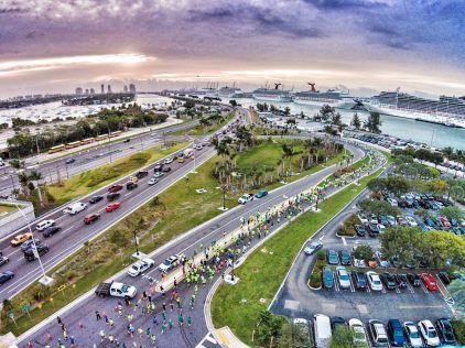 Aerial Photo On MacArthur Causeway