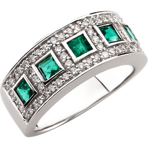 Square Princess Green Emerald 14k White Gold Ladies Ring