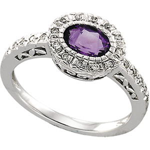 Oval Purple Amethyst 14k White Gold Ladies Ring