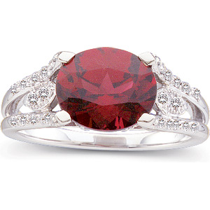 Oval Magenta Red Rhodolite Garnet 14k White Gold Ladies Ring