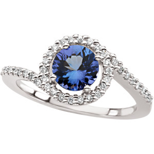 Round Blue Purple Tanzanite 14k White Gold Ladies Ring