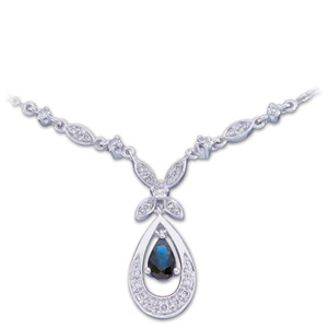 Pear Blue Sapphire 14k White Gold Ladies Pendant Necklace