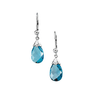 Pear Briolette Swiss Blue Topaz 14k White Gold Ladies Earrings