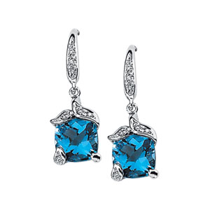 Square Cushion Swiss Blue Topaz 14k White Gold Ladies Earrings