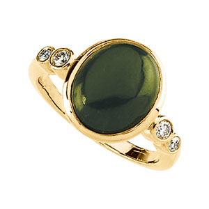 Oval Green Nephrite Jade 14k Yellow Gold Ladies Ring