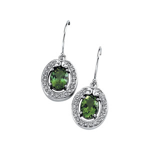 Oval Green Tourmaline 14k White Gold Ladies Earrings