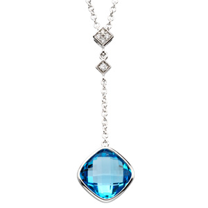 Square Cushion Checkerboard Swiss Blue Topaz 14k White Gold Ladies Pendant Necklace