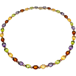 Oval Orange Citrine Pink Tourmaline Purple Amethyst Green Peridot 14k Yellow Gold Ladies Necklace