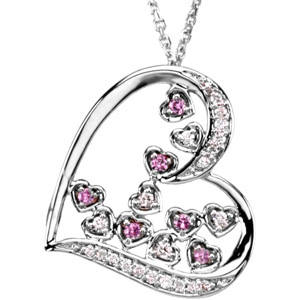 Round Pink Sapphire 14k White Gold Ladies Pendant