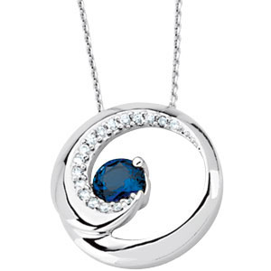 Round Blue Sapphire 14k White Gold Ladies Pendant Slide