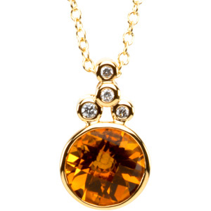 Round Checkerboard Orange Golden Citrine 14k Yellow Gold Pendant Necklace