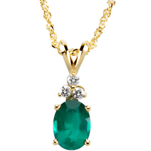 Oval Green Emerald 14k Yellow Gold Ladies Pendant Necklace