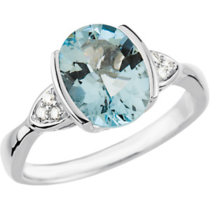 Oval Blue Aquamarine 14k White Gold Ladies Ring