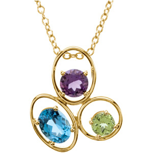Oval Blue Topaz Round Purple Amethyst Round Green Peridot 14k Yellow Gold Ladies Pendant