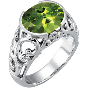 Oval Green Peridot 14k White Gold Ring