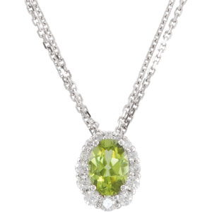 Oval Green Peridot 14k White Gold Ladies Pendant Necklace
