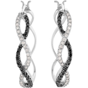 Round Black & White Diamond 14k White Gold Ladies Earrings