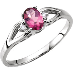 Oval Pink Tourmaline 14k White Gold Ladies Ring