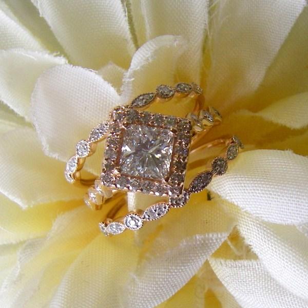 Rose Gold Princess Diamond Ring