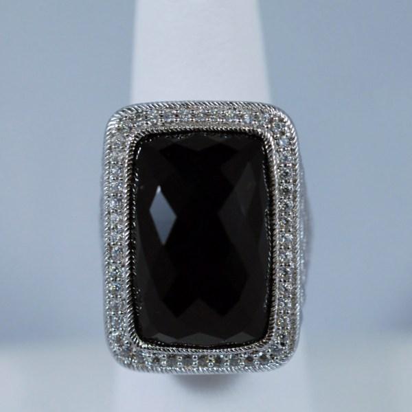 Rectangle Black Onyx Sterling Silver Judith Ripka Ladies Ring