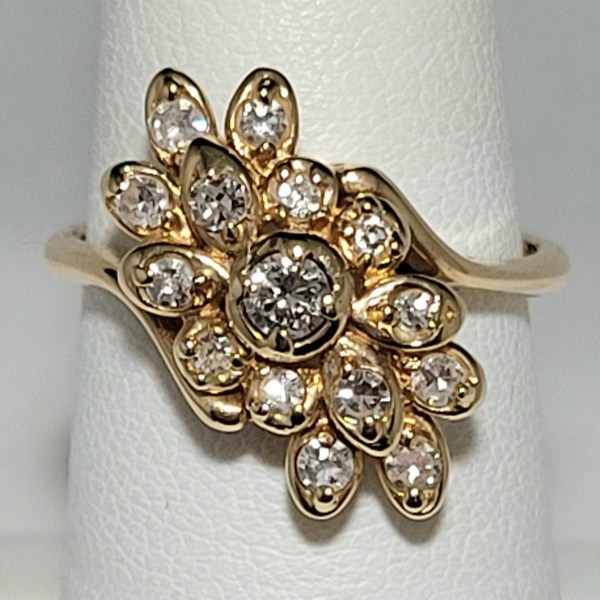 14k Yellow Gold 15 round Diamond Waterfall Cluster Ring